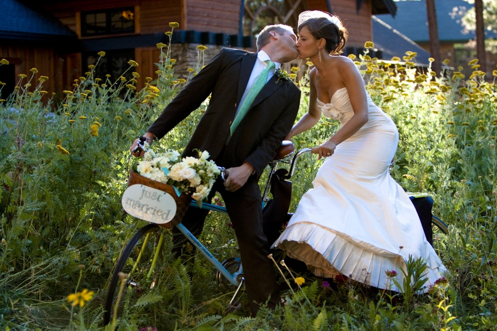 Bride and Groom on Tandem Bike