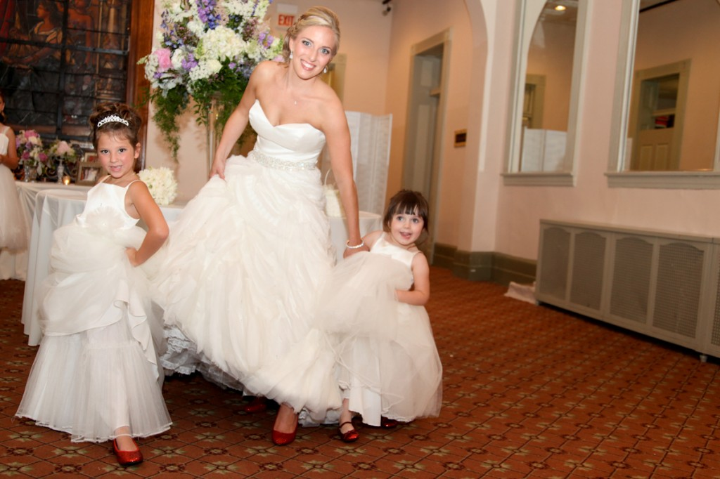 Lazaro Real Bride with Flower Girls