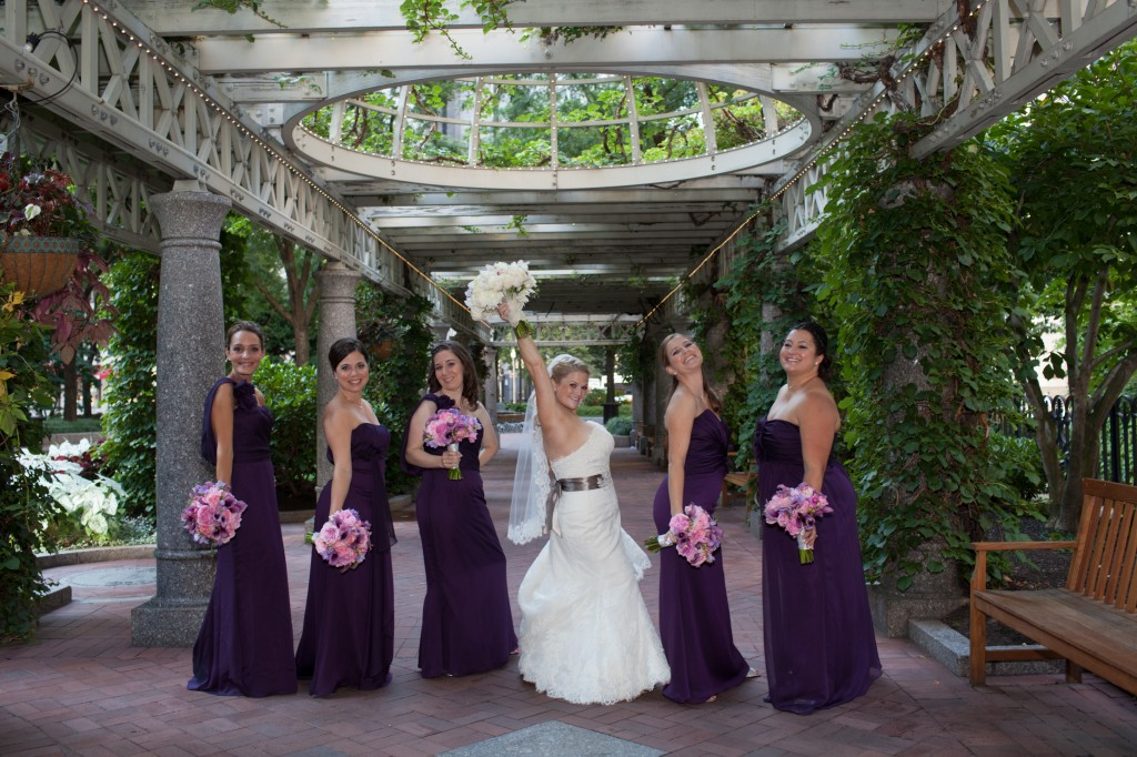 Bridesmaids under the terrace