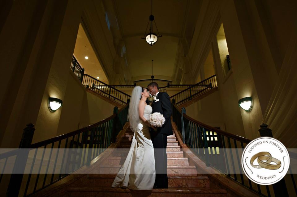 Lazaro Real Bride Ashley on Steps