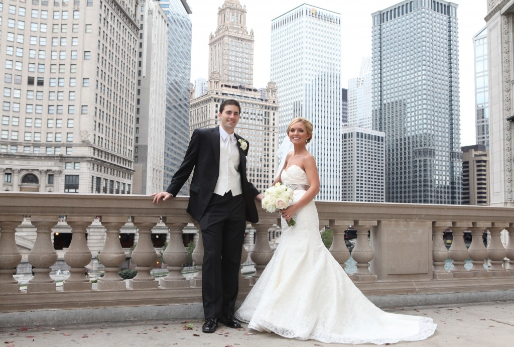 Real Bride Alexandra and Husband Patrick with Skyline