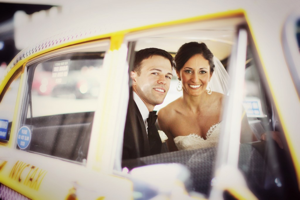 Lovely couple in a cab