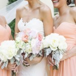 Molly & her bridesmaids show off their bouquets